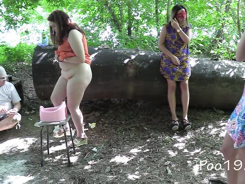 Toilet slave Vitaly eats smelly female shit from a pot in the forest