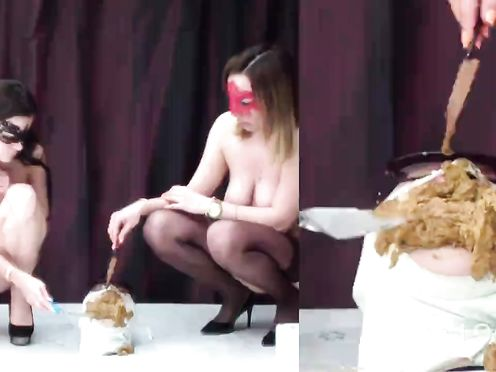 Yana and Christina fed a toilet slave with fresh sweet shit